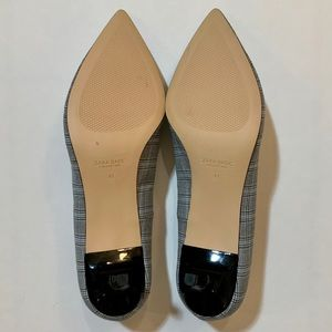 Zara Shoes - Zara Plaid Check Fabric Pointed Toe Kitten Heel 10